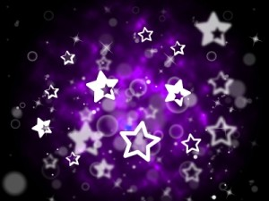 stars and bubbles in purple